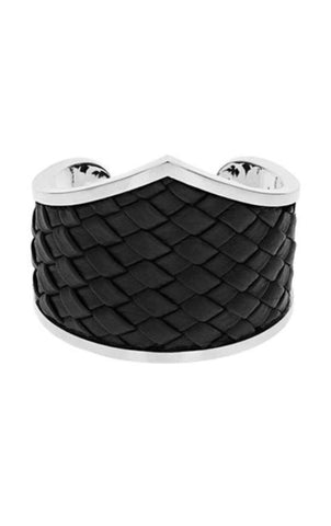 Woven Leather MB Cross Cuff