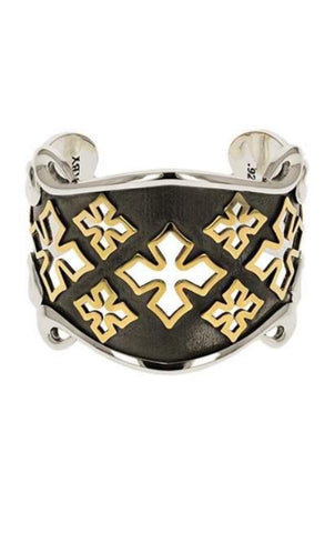 MB Cross Shield Cuff with Gold Alloy