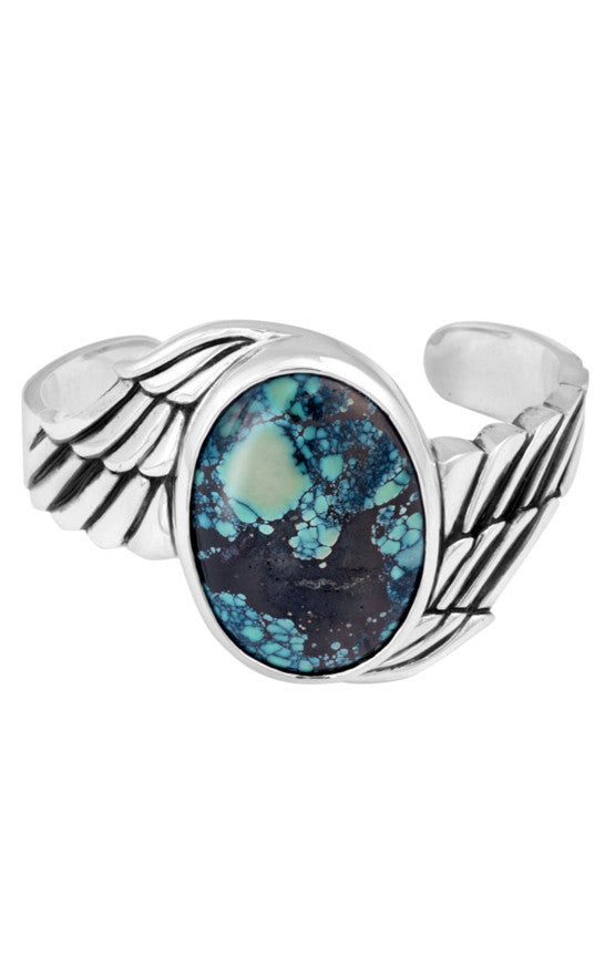 Wing Cuff with a Large Top Hat Spotted Turquoise Stone