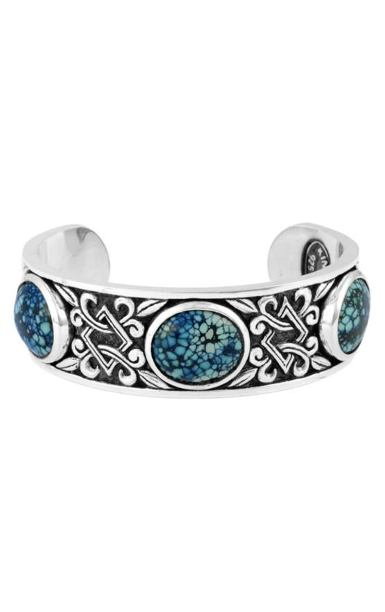 Baroque Scroll Cuff with Three Top Hat Spotted Turquoise Stones