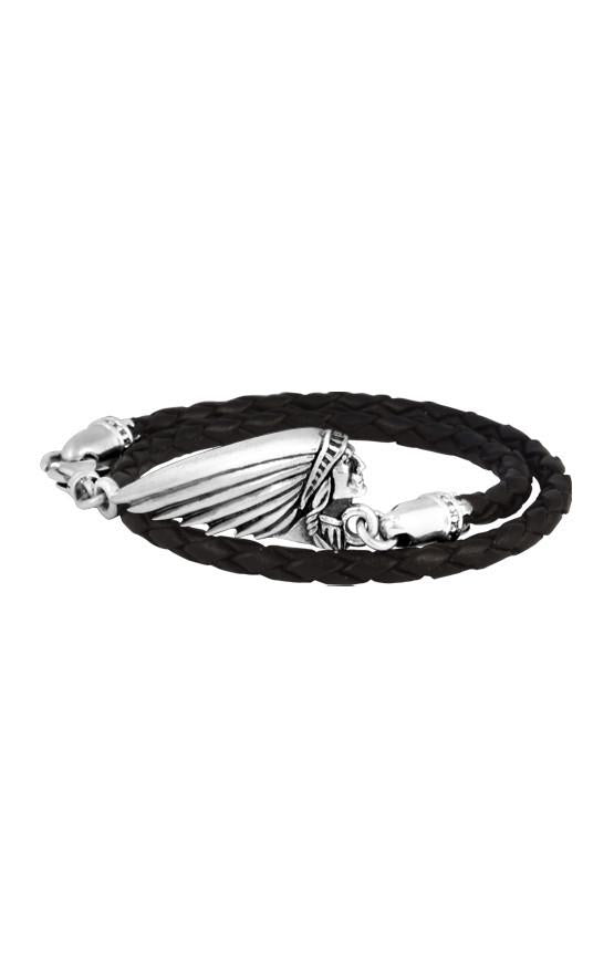 Thin Braided Black Leather Indian Headdress Double Wrap Bracelet