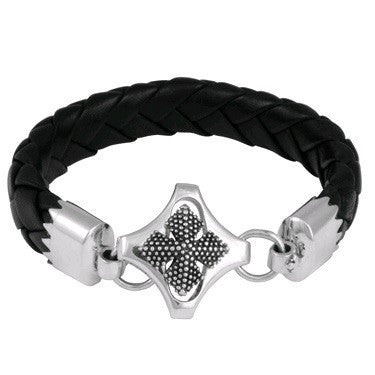 Braided Leather Bracelet with MB Cross Clasp