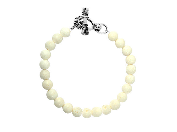 8mm White Coral Bead Bracelet with silver toggle clasp