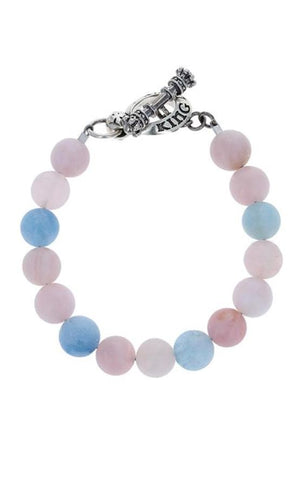 10mm Assorted Aquamarine Bracelet w/ T-Bar & Toggle