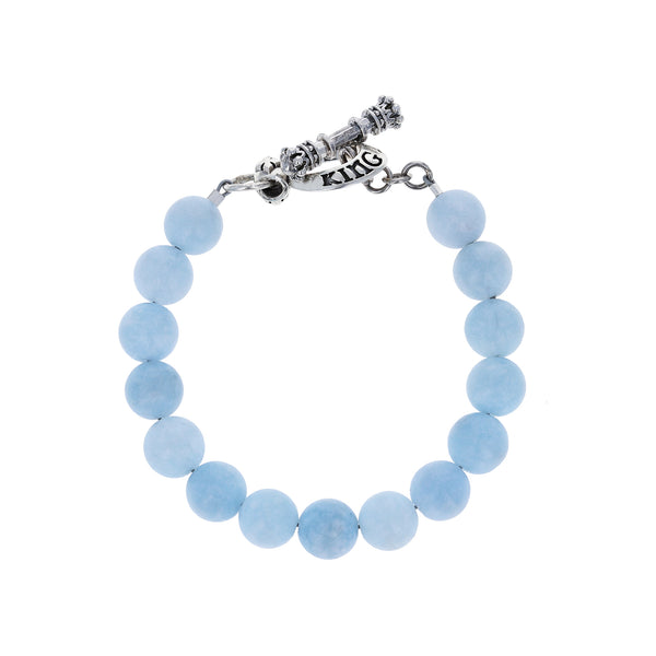 10mm Light Blue Aquamarine Bracelet w/ T-Bar & Toggle