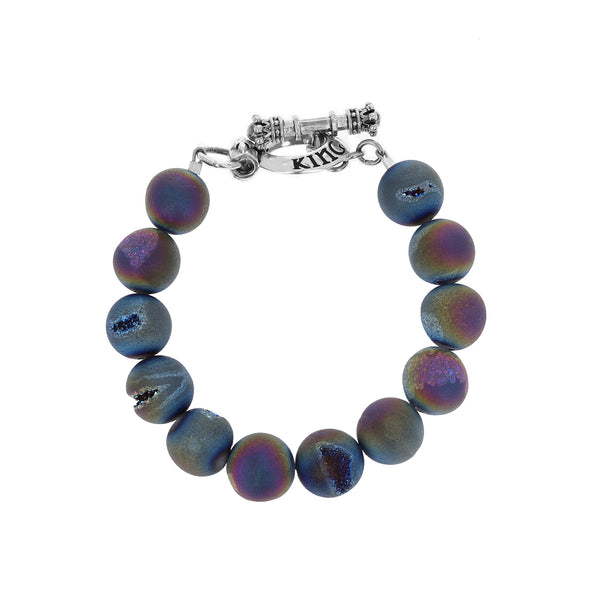 10mm Peacock Druzy Agate Bracelet w/ T-Bar & Toggle
