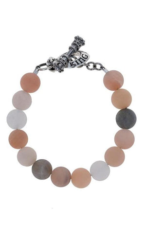 10mm Assorted Moonstone Round Bead Bracelet w/ Silver Clasp