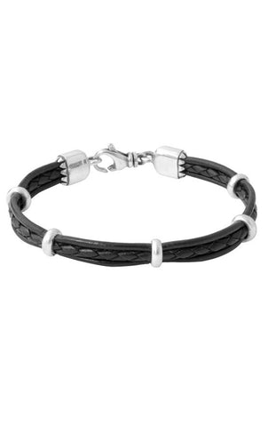Multi stranded leather Bracelet with silver rondelle beads