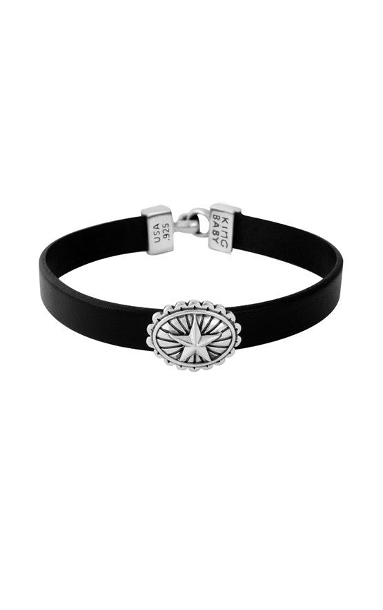 Black Leather Bracelet with Star Concho