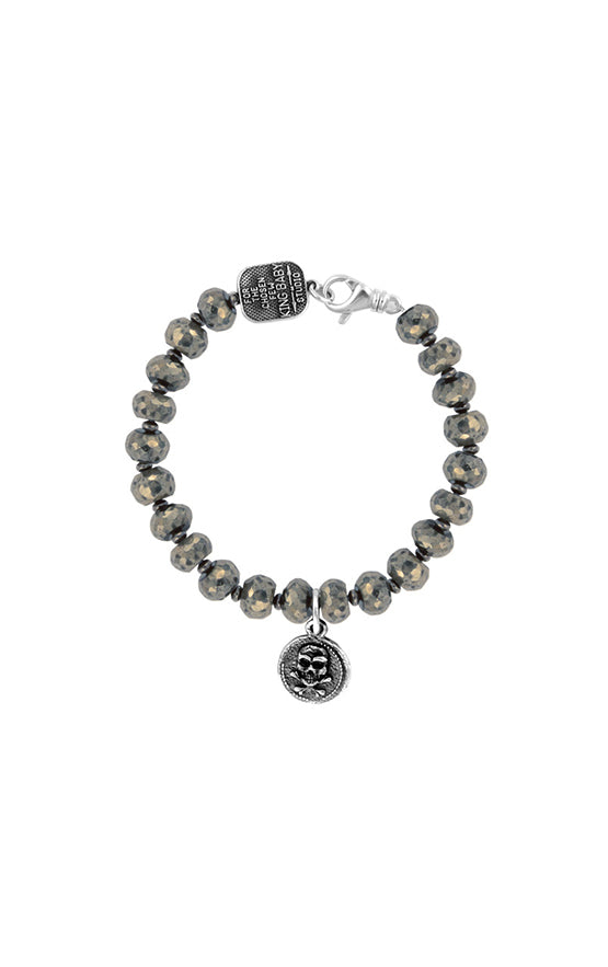 8mm Pyrite Bracelet with Small Skull Coin