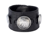 Bracelets | Leather Cuff with Half Dollar and Two Quarter Dollr Coins