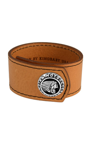 Brown Leather Cuff with Indian Logo Silver Button