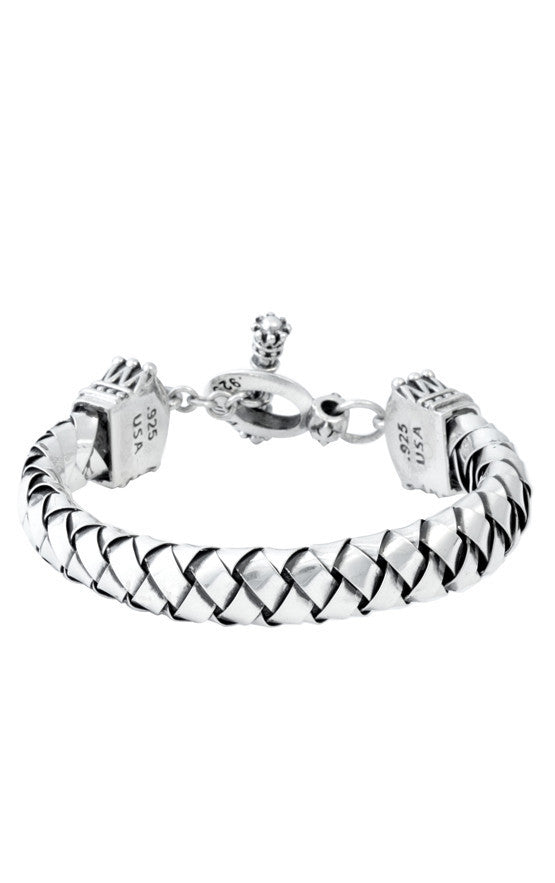 Flat Silver Braid Bracelet With Crown Toggle Clasp