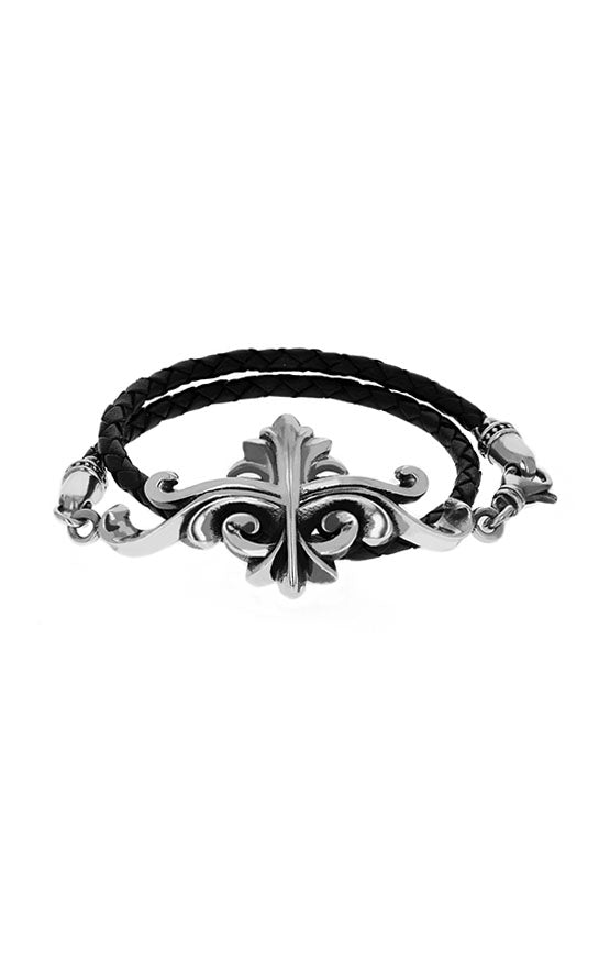 leather king baby bracelet with sterling silver