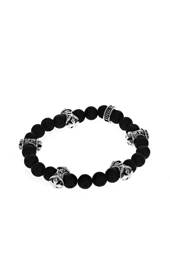 lava rock king baby bracelet with sterling silver