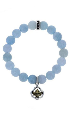 10mm Light Blue Aquamarine w/ Framed Scroll Charm