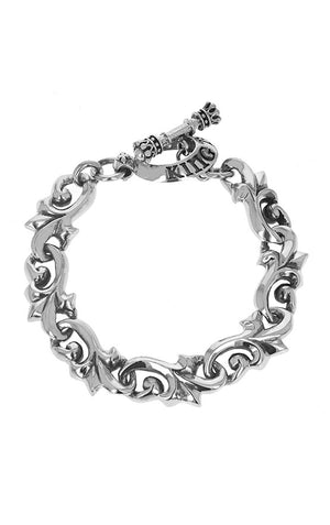 Leaf Scroll Bracelet w/ T-Bar & Toggle