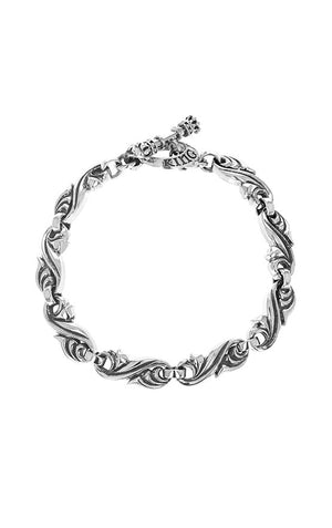 Classic Scroll Link Bracelet w/ T-Bar & Toggle