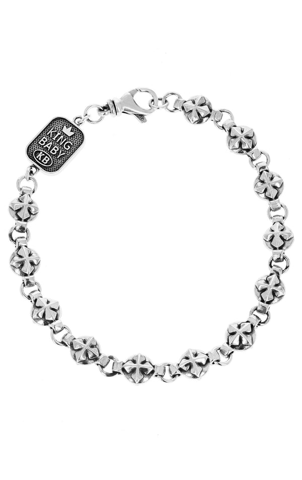 king baby round mb cross bracelet