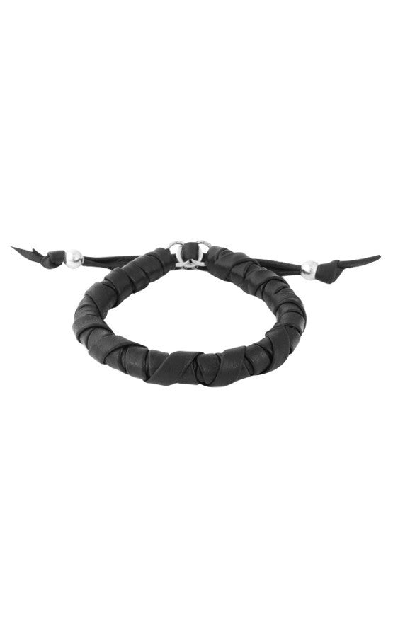 Thick Natural Wrap Black Leather Bracelet