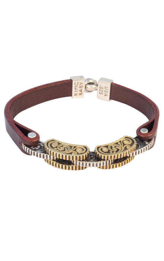 Burgundy Leather Strap Bracelet with Rotor Links
