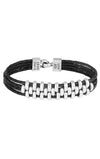 Interlocked Link Bracelet on Four Black Leather Braids