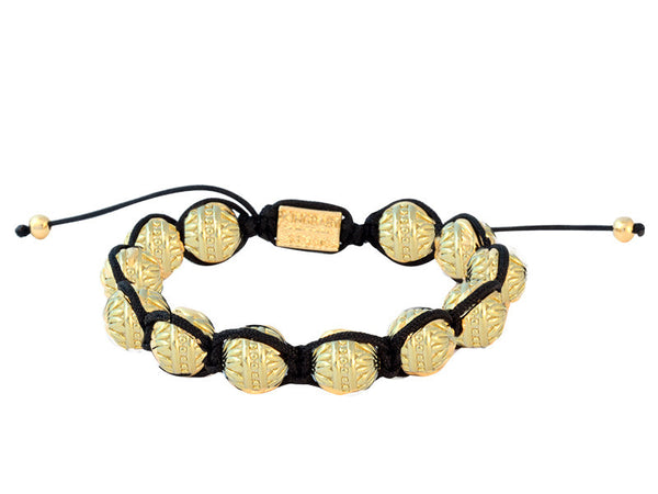 Bracelets | Macrame Bracelet with Brass Flower Beads