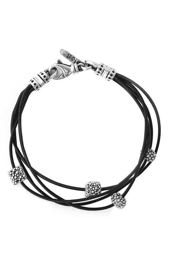 Black Multi Stranded Leather Bracelet with Stingray Texture Beads