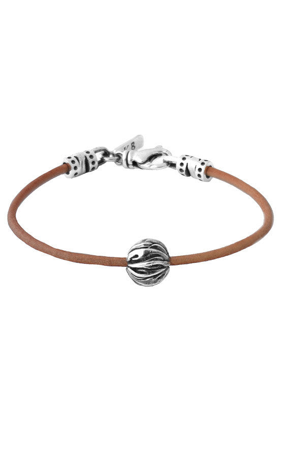 Brown Leather Cord Bracelet with Feather Bead