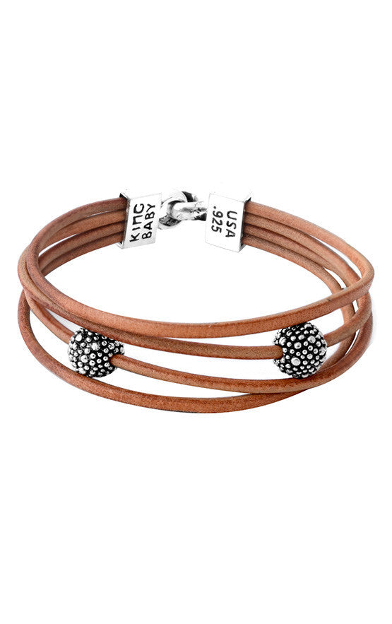 Multi Strand Brown Leather Cord Bracelet with Hook Clasp and Stingray Beads