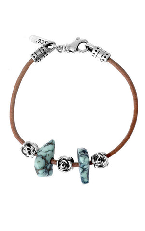 Brown Leather Cord Bracelet with Two Turquoise Beads and Three Roses