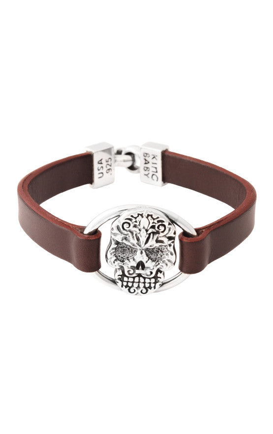 Baroque Skull Centerpiece Leather Strap Bracelet