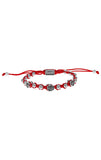 Red Macrame Bracelet w/ Beads & 3 Alloy Roses