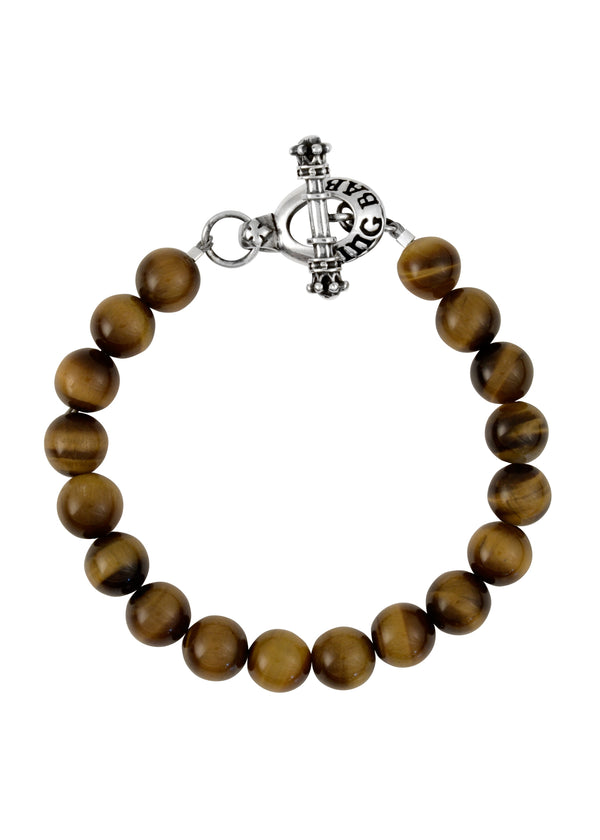 10mm Brown Tiger Eye Bead Bracelet w/Silver Toggle Clasp