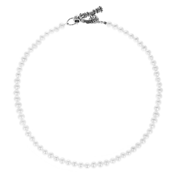 6mm White Pearl Necklace w/ T-bar and Toggle