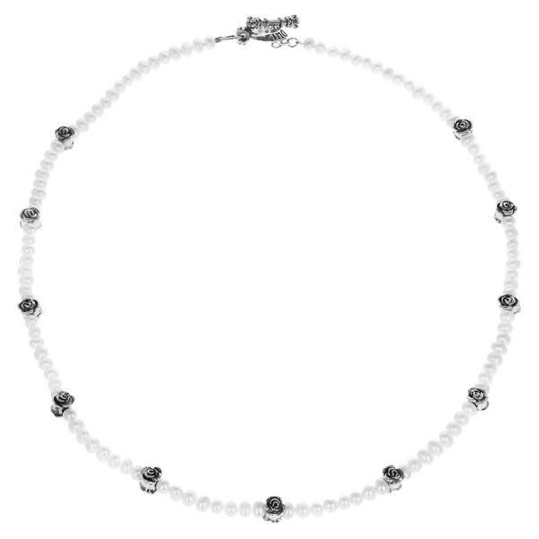 6mm White Pearl Necklace w/ Silver Rose Beads