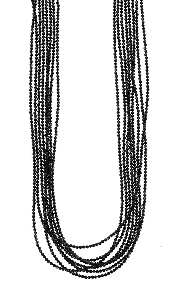 king baby womens eight strand black spinel necklace