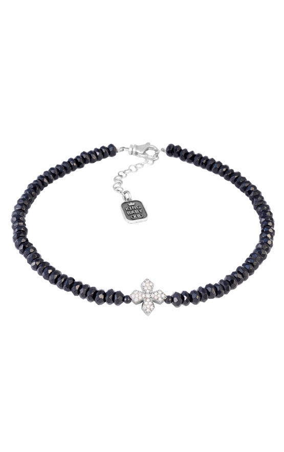 Faceted Onyx Bead Choker with CZ Pave MB Cross
