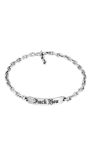 Silver Chain Choker with Fuck You Plate