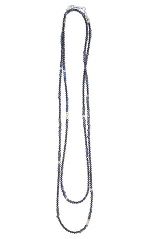 Necklace with Mixed Spinel Beads and Silver Stations