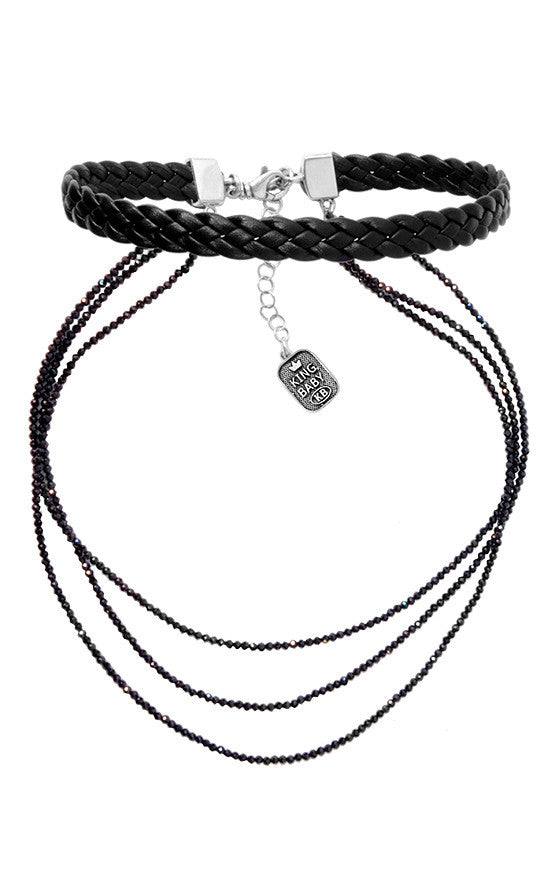Braided Leather Choker with Multi Strand Spinel Necklace