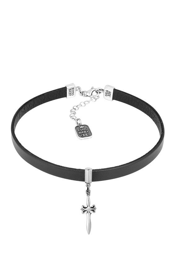 king baby leather choker with silver dagger