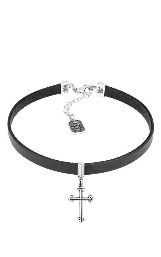 king baby leather choker with traditional cross