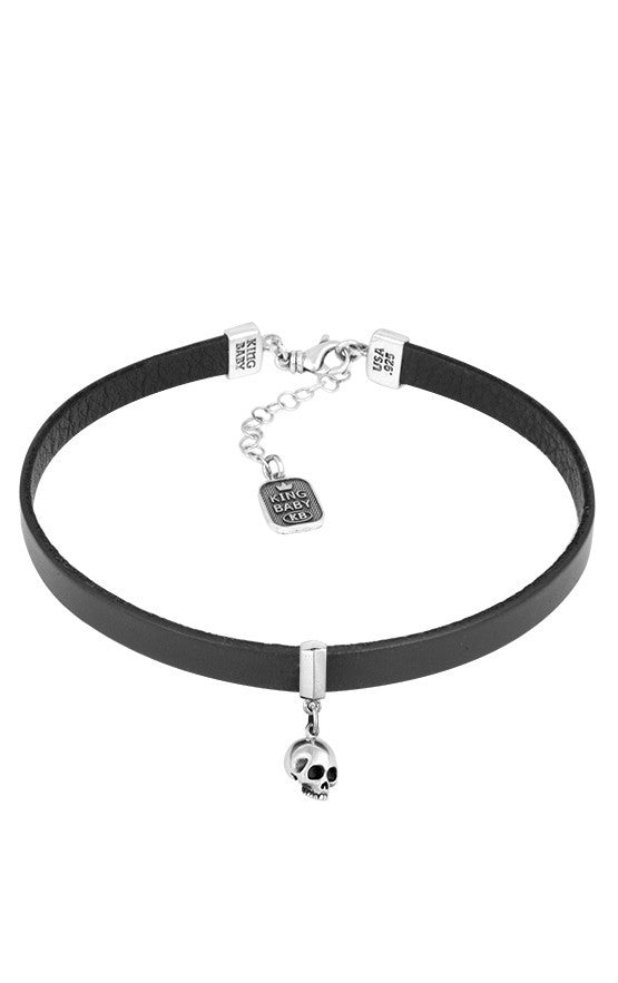Leather Choker with Hamlet Skull