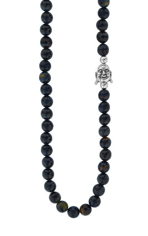 "34"" Smiling Buddha and Faceted Blue Tiger Eye Bead Necklace"