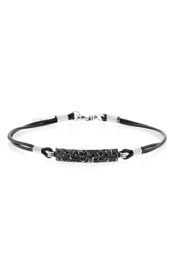 Choker with Silver Lava Rock Texture Plate