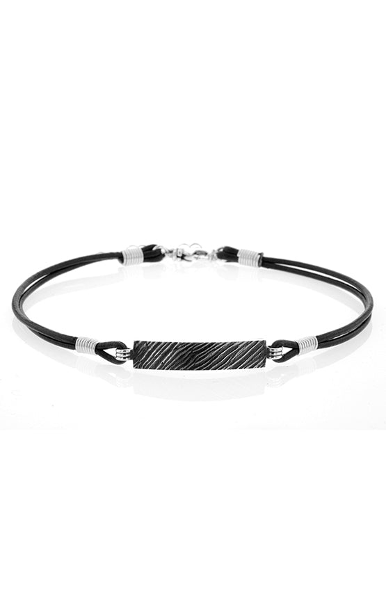 Choker with Slashed Texture Silver Plate