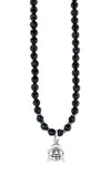 "24"" Smiling Buddha Charm and Faceted Onyx Bead Necklace"