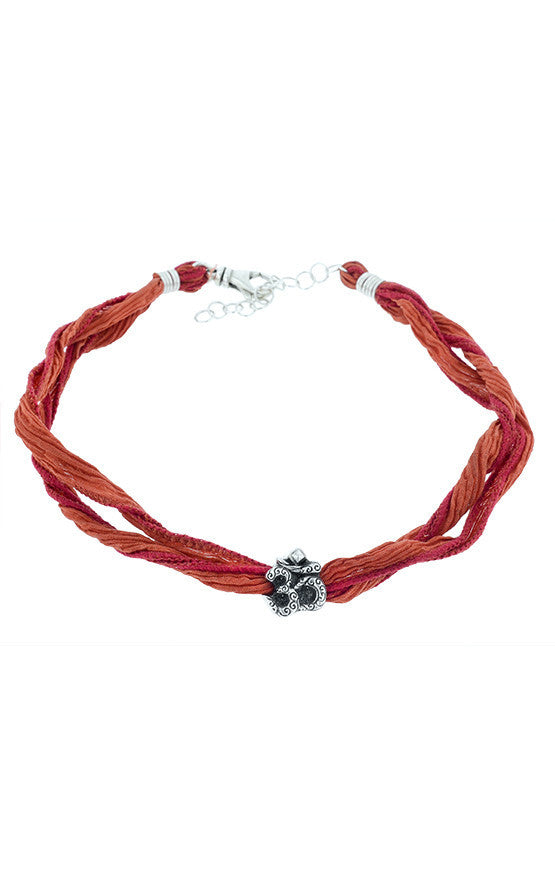 Burned Orange Silk Choker with Om Symbol