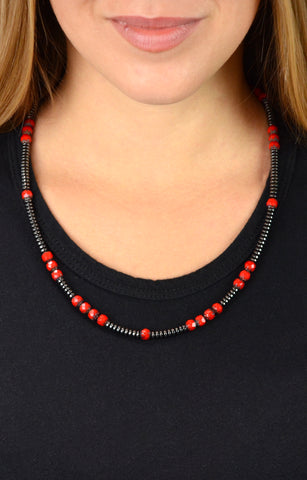 Hematite and Czech Glass Bead Necklace